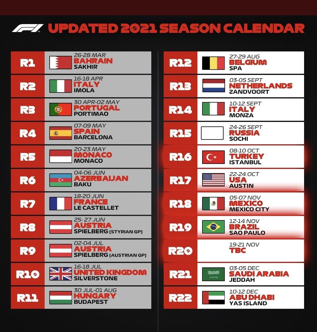 Calendario actualizado temporada 2021 de la Fórmula 1 - Blog Hola Telcel