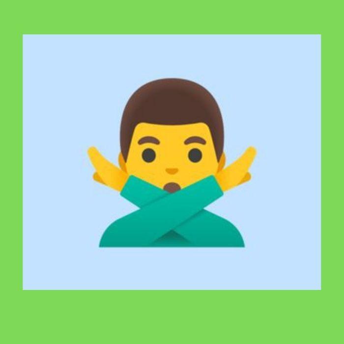 emoji de la persona con los brazos cruzados en equis - Blog Hola Telcel