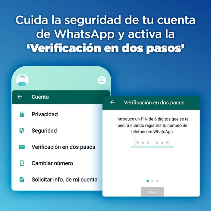 Menú de Ajustes y Cuenta para activar la verificación en dos pasos de WhatsApp.- Blog Hola Telcel