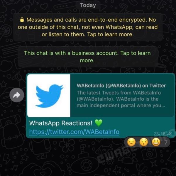 Notificación de que alguien ha reaccionado a auno de tus mensajes, como parte de la nueva función de WhatsApp.- Blog Hola Telcel