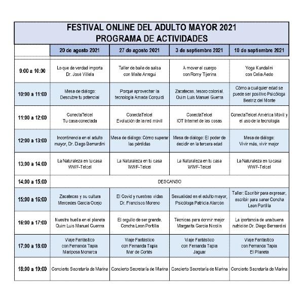 Programa de actividades Festival adulto mayor online Telcel - Blog Hola Telcel
