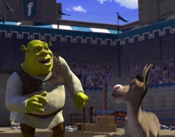 """Shrek y Burro, escena en la que dice """"Doy clases los jueves, no cobro mucho"""".- Blog Hola Telcel"""