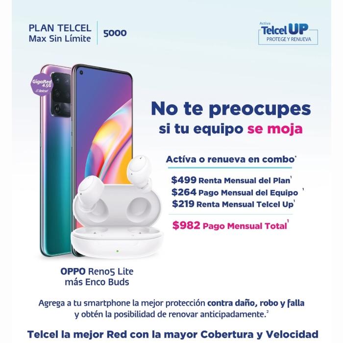 Dale mayor seguridad y protección a tu equipo con Telcel UP y disfruta de la tecnología del nuevo OPPO Reno5 Lite. Vigencia al 06 de octubre de 2021.- Blog Hola Telcel