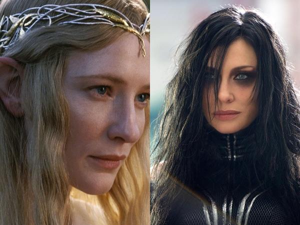 Cate Blanchett como Galadriel en El señor de los anillos y como Hela en Thor Ragnarok.- Blog Hola Telcel